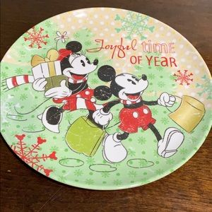Mickey and Minnie Zak Christmas plastic plate